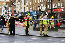 © Licensed to London News Pictures. 07/01/2020. London, UK. Fire-fighters at the scene at Koko, the music venue in Camden following the fire that damaged the roof. The fire started just before 9pm on Monday 6 January and the fire-fighters brought the fire under control at about 02:30am on Tuesday 7 January 2020. Photo credit: Dinendra Haria/LNP
