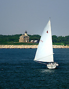 The Catfish Sailboat approaches Plum Island from Orient Point on the North Fork of Long Island