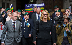 © Licensed to London News Pictures. <br /> 25/3/2017. London, Great Britain.  <br /> Claire Blackman wife of Marine A, Sgt Al Blackman RM leaves the Royal Courts of Justice as the case is adjourned until Tuesday. The former Royal Marine was convicted of the murder of a Taliban insurgent in September 2011<br /> Photo credit: Anthony Upton/LNP