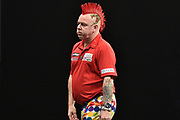 Peter Wright  misses a double during the Betway Premier League Darts at the Manchester Arena, Manchester, United Kingdom on 23 March 2017. Photo by Mark Pollitt.