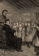 Moses Montefiore (1784-1885) Italian-born English philanthropist and campaigner for Jewish rights. Here in 1860's with girls of the Isle of Thanet Orphanage, Kent, watched by Mrs Tait, wife of the Archbishop of Canterbury. From 'The Quiver' (London, 1883)