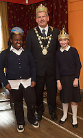 repro free: Galway Gamelan Experience at the Rowning Club where Princess Weyinmiecthie and Katie McCathy Scoil Leanbh Iosa from Scoil Leanbh Iosa  experienced the musical magic of the Gamelan- a traditional Indonesian orchestral Instrument an deere joined by  Cllr Frank Fahy Mayor of Galway City.  <br />  Photo:Andrew Downes, xposure