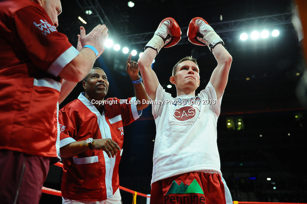 Kevin Satchell defeats Luke Wilton (pictured) in a 12x3 round bout for the British Flyweight Title at the Echo Arena, Liverpool, United Kingdom on the 23rd February 2013. Frank Maloney Promotions. © Leigh Dawney Photography 2013