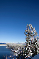 Scenic image of Yellowstone Lake in winter. Yellowstone National Park, WY.