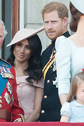 © Licensed to London News Pictures. 09/06/2018. London, UK. The DUKE OF SUSSEX and MEGHAN DUCHESS OF SUSSEX on the balcony of Buckingham Palace after attending Trooping The Colour ceremony in London. This years event is part of a weekend of celebration to mark the 92th birthday of Queen Elizabeth II, who is Britain's longest reigning monarch.Photo credit: Ray Tang/LNP