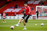 Enda Stevens of Sheffield United warming up for the Premier League match between Sheffield United and Crystal Palace at Bramall Lane, Sheffield, England on 18 August 2019.