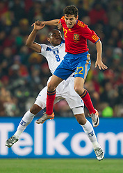 Wilson Palacios of Honduras vs Jesus Navas of Spain during the 2010 FIFA World Cup South Africa Group H Second Round match between Spain and Honduras on June 21, 2010 at Ellis Park Stadium, Johannesburg, South Africa.   (Photo by Vid Ponikvar / Sportida)