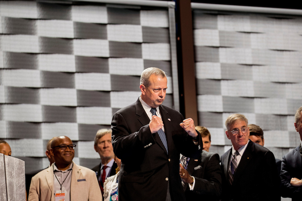 PHILADELPHIA, PA - JULY  28, 2016: General John Allen conducts a walk-through before the final night of the Democratic National Convention in Philadelphia, Pennsylvania. CREDIT: Sam Hodgson for The New York Times. <br /> <br /> NYTDNC
