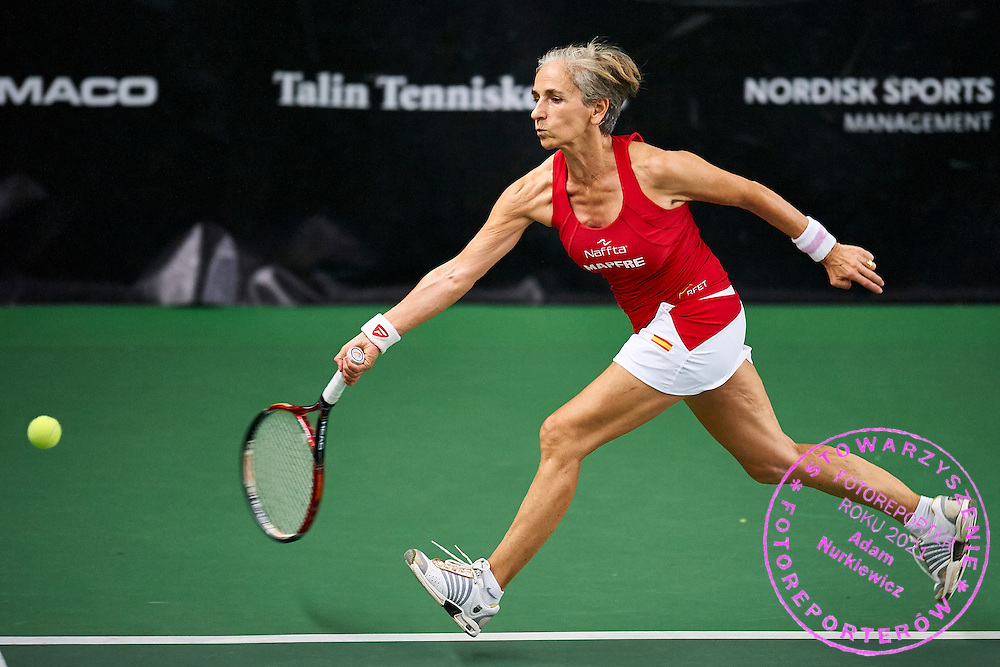 Helsinki, Finland - 2016 June 23: Rosa Maria Togores Colom from Spain in action while team women's Alice Marble Cup (Women 60) match between Canada and Spain during 2016 ITF Seniors World Team Championships at Talin Tenniskeskus on June 23, 2016 in Helsinki, Finland.<br /> <br /> Adam Nurkiewicz declares that he has no rights to the image of people at the photographs of his authorship.<br /> <br /> Picture also available in RAW (NEF) or TIFF format on special request.<br /> <br /> Any editorial, commercial or promotional use requires written permission from the author of image.<br /> <br /> Mandatory credit:<br /> Photo by &copy; Adam Nurkiewicz