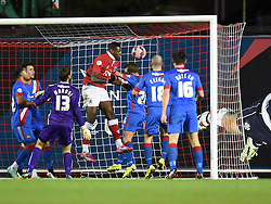 Bristol City's Jay Emmanuel-Thomas heads in the ball to score in FA Cuo third round replay against Doncaster Rovers at Ashton Gate - Photo mandatory by-line: Paul Knight/JMP - Mobile: 07966 386802 - 13/01/2015 - SPORT - Football - Bristol - Ashton Gate Stadium - Bristol City v Doncaster Rovers - FA Cup third round replay