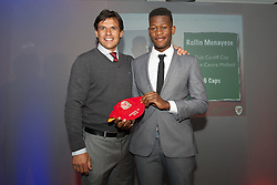CARDIFF, WALES - Saturday, May 11, 2013: Rollin Menayese is presented with his U16's cap by Wales national team manager Chris Coleman at the FAW Trust Under-16's cap presentation. (Pic by David Rawcliffe/Propaganda)