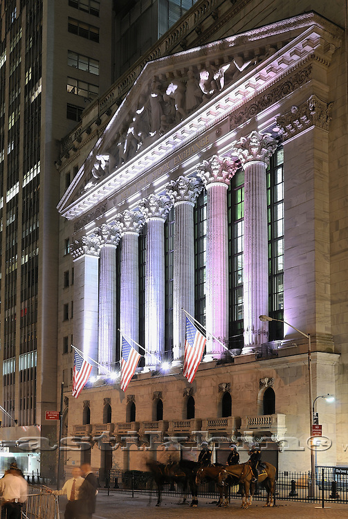 New York Stock Exchange at night. October 2011.