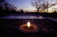 A 28.2MG IMAGE OF:.The Eternal Flame of the John F Kennedy Grave at dusk in Arlington National Cemetary. Photo by Dennis Brack