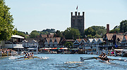 Henley on Thames, England, United Kingdom, Thursday, 04.07.19, Amsterdamsche Studenten Roeivereeniging Nereus, Netherlands, NED, <br /> leading<br /> Purdue University, U.S.A., as they pass the Grandstands, in the Heat of the Temple Challenge Cup, Henley Royal Regatta,  Henley Reach, [©Karon PHILLIPS/Intersport Images]<br /> <br /> 15:40:59 1919 - 2019, Royal Henley Peace Regatta Centenary,