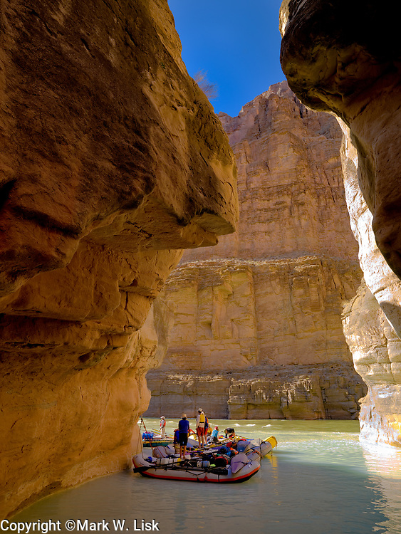 Rafters tie up to hike  the scenic trail along Havasu creek, in Grand Canyon National Park.scenic trial