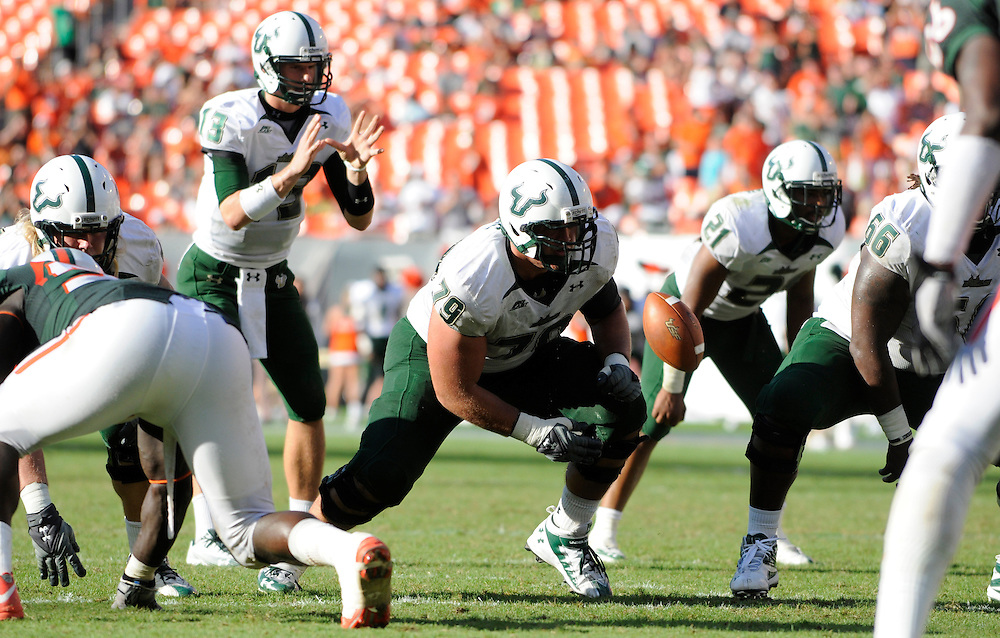 MIAMI GARDENS, FL - NOVEMBER 27: Chaz Hine #79 in action during the game against the Miami Hurricanes at Sun Life Stadium in Miami Gardens, Florida on November 27, 2010. South Florida defeated the Hurricanes 23-20.