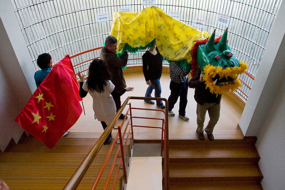 (A Coruña, Spain - February 10, 2010) - Students of Chinese celebrate the Chinese New Year at the Escuela Oficial de Idiomas on Wednesday. Students walked around in traditional outfits, sang Chinese songs and carried a dragon. ..Photo by Will Nunnally/Will Nunnally Photography