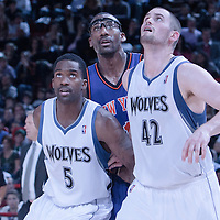 06 October 2010: New York Knicks forward Amare Stoudemire #1 fights for a rebound against Minnesota Timberwolves forward Martell Webster #5 and Minnesota Timberwolves forward Kevin Love #42 during the Minnesota Timberwolves 106-100 victory over the New York Knicks, during 2010 NBA Europe Live, at the POPB Arena in Paris, France.