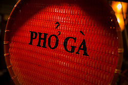 Sign for a small street stall selling pho ga, a popular chicken noodle soup, Hanoi, Vietnam, Southeast Asia
