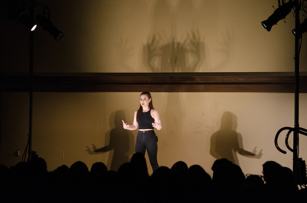 """2016-04-14-Medford/Somerville-Tufts University-51 Winthrop-Alyssa Antman performs """"Sincerely, Me,"""" written by herself (Alex Knapp / The Tufts Daily)."""