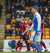 30th December 2017, McDiarmid Park, Perth, Scotland; Scottish Premiership football, St Johnstone versus Dundee; Dundee's Marcus Haber is congratulated after scoring for 1-0