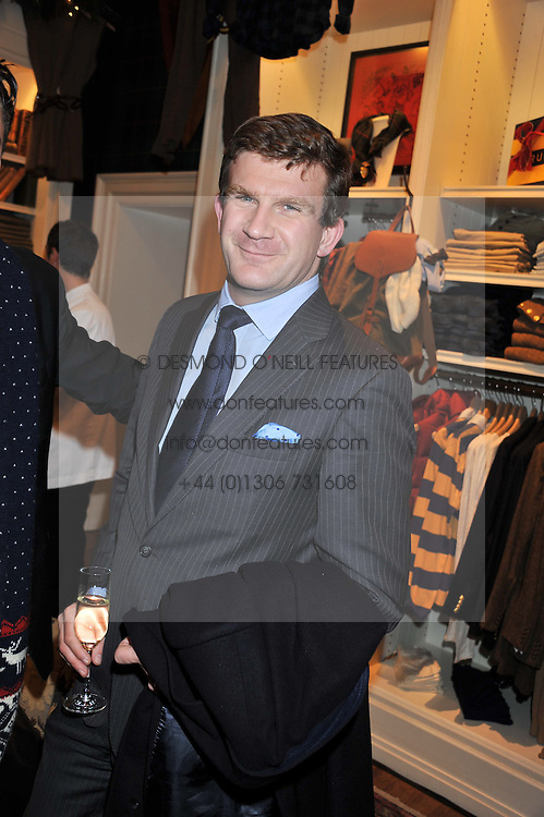 The HON.PEREGRINE HOOD at a party hosted by TLC to celebrate signing their 5000th member and Ralph Lauren to celebrate the opening of the first Ralph Lauren Rugby store in the UK at 43 King Street, Covent Garden, London on 30th November 2011.