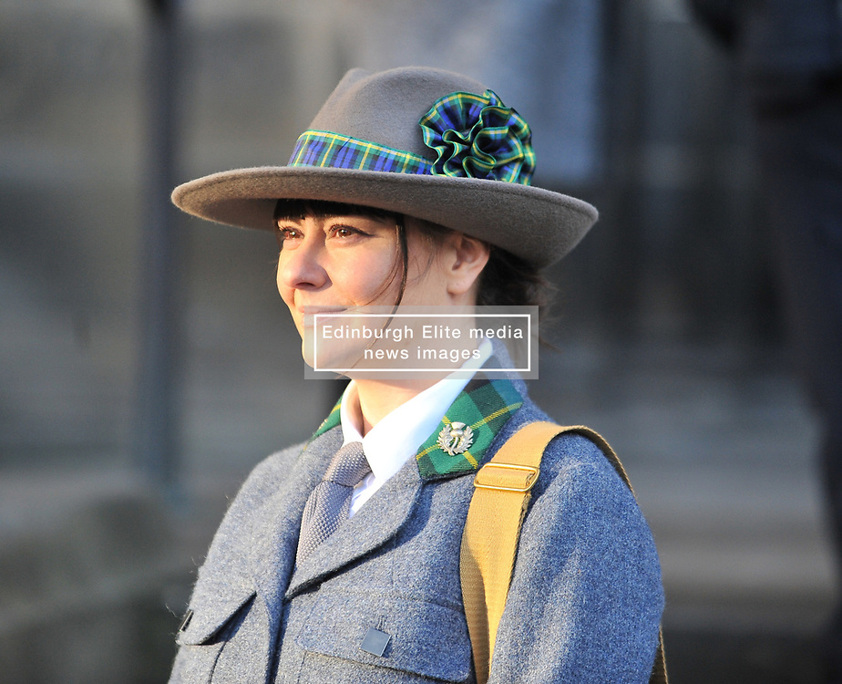 Living historian Ailsa Clarke, dressed in the uniform of the Scottish Women's Hospital Service from World War 1 waits for the Princess Royal to arrive for a memorial service to pioneering WW1 medic Elsie Inglis in Edinburgh and meets descendants of the Scottish doctor.<br /> <br /> © Dave Johnston/ EEm