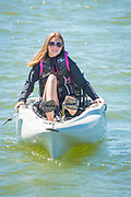 Girl in peddal kaykay on the Snake River in Burley, Idaho.