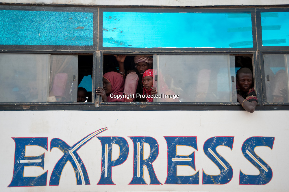 Somali refugees arrive by bus at the camps in Dadaab, situated northeast of the capital Nairobi, September 2011.