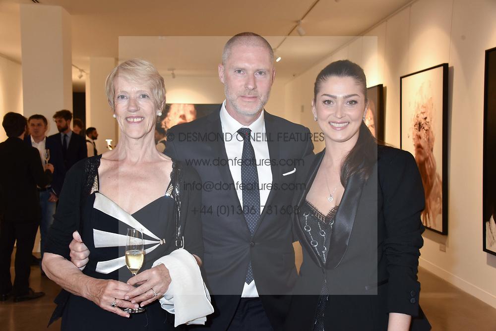 Anne Malat, Jean-David Malat and Iriane Malat at the launch of the new JD Malat Gallery, 30 Davies Street, London, England. 05 June 2018.