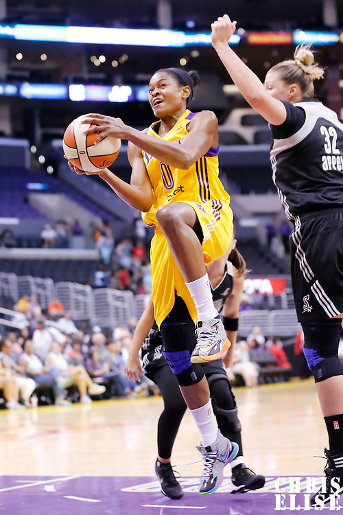 22 June 2014: guard/forward Alana Beard (0) of the Los Angeles Sparks goes for the layup past center Jayne Appel (32) of the San Antonio Stars during the San Antonio Stars 72-69 victory over the Los Angeles Sparks, at the Staples Center, Los Angeles, California, USA.