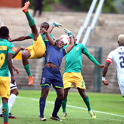 Mbongeni Mzimela Goalkeeper of Platinum Stars played off the ball by Siphelele Magubane of Golden Arrows during the Absa Premiership match between Golden Arrows and Platinum Stars at the Princess Magogo Stadium ,Durban, South Africa. 28 th April 2018 (Photo by Steve Haag)