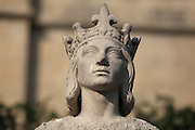 Head of a statue of Saint Louis or King Louis IX of France, 1951, by Albert-Marius Patrisse, 1892-1964, Poissy, Yvelines, France. Saint Louis was born in Poissy in 1214 and baptised in the Collegiale Notre-Dame de Poissy (next to this statue) in the same year. Picture by Manuel Cohen