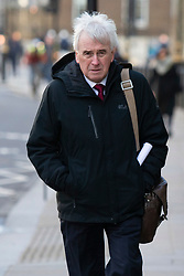 © Licensed to London News Pictures. 11/02/2019. London, UK. Shadow Chancellor of The Exchequer John McDonnell walks in Westminster. Photo credit: George Cracknell Wright/LNP