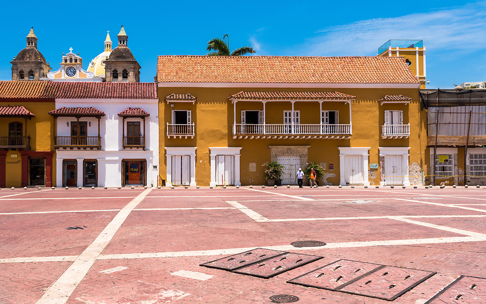 Cartagena, Columbia -- April 21, 2018. A town square in Cartagena, Columbia stands almost empty in late morning. Columbia. Editorial use only.