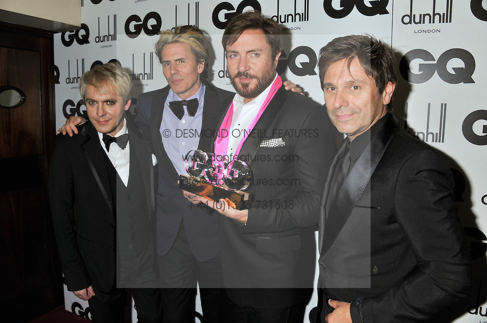 Duran Duran winners of the Lifetime Achievement Award NICK RHODES, JOHN TAYLOR, SIMON LE BON and ROGER TAYLOR at the GQ Men of the Year 2011 Awards dinner held at The Royal Opera House, Covent Garden, London on 6th September 2011.