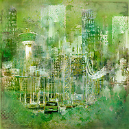 Painterly sketch of a cityscape with a bridge, cars and TV tower in largely black and white tones on a vibrant green background