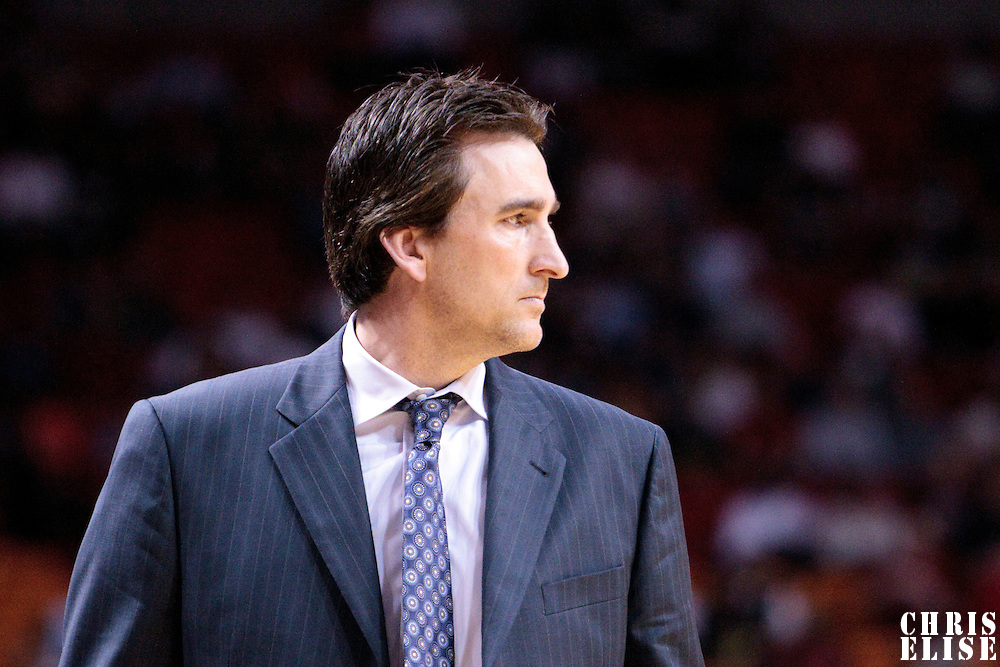 12 March 2010: Chicago Bulls coach Vinny  Del Negro is seen during the Miami Heat 108-95 victory over the Chicago Bulls at the AmericanAirlines  Arena, in Miami, Florida, USA.
