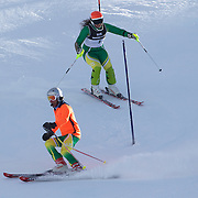 Melissa Perrine, Australia, (right) with her guide Andrew Bor, in action during the Women's Slalom Visually Impaired Adaptive Slalom competition at Coronet Peak, New Zealand during the Winter Games. Queenstown, New Zealand, 25th August 2011. Photo Tim Clayton