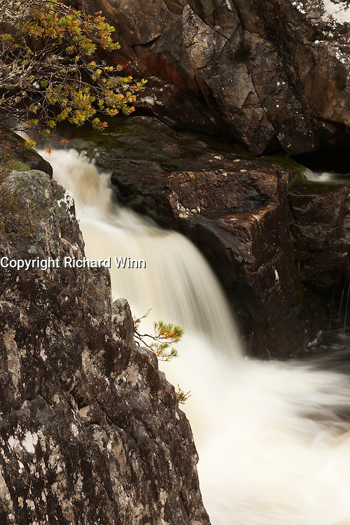 Medium sized waterfall on part of the River Farrar, shortly before the confluence with the River Beauly, near Cannich.