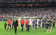 HOUSTON, TEXAS - JUNE 21: Argentina and United States enter the pitch before the Semifinal match between Argentina and US at NRG Stadium as part of Copa America Centenario US 2016 on June 21, 2016 in Houston, Texas, US. Argentina won 4 to 0. (Photo by Thomas B. Shea/LatinContent/Getty Images)