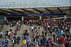LONDON, ENGLAND - Saturday, April 14, 2012: Liverpool and Everton supporters arrive at Wembley Park Underground Station to watch the 218th Merseyside Derby, the FA Cup Semi-Final, at Wembley. (Pic by David Rawcliffe/Propaganda)