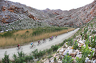 A peleton of riders head into the spectacular Seweweekspoort during the Ladismith Cheese 7Weekspoort MTB Challenge, on the 1st October 2016<br /> <br /> Photo by:    /Oakpics/ SPORTZPICS<br /> <br /> <br /> {dem16gst}