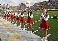 October 31, 2009: Indiana cheerleaders support their marching band before the Iowa Hawkeyes' 42-24 win over the Indiana Hoosiers at Kinnick Stadium in Iowa City, Iowa on October 31, 2009.