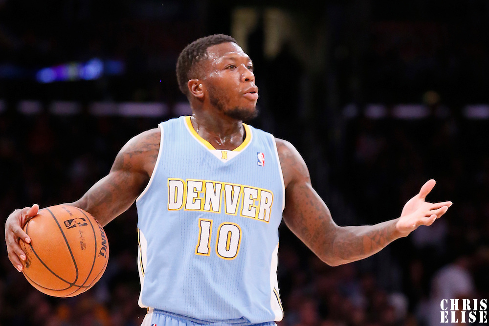 05 January 2014: Denver Nuggets point guard Nate Robinson (10) sets the offense during the Denver Nuggets 137-115 victory over the Los Angeles Lakers at the Staples Center, Los Angeles, California, USA.