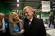 Sitting MP Esther McVey arriving with her father at the count at Bidston Tennis Centre, Wirral for the Wirral West constituency in the 2015 UK General Election. The constituency was held by Esther McVey for the Conservative Party, who won the seat from Labour at the 2010 General Election. The constituency was one of the key marginal seats contested between the two main UK political parties.