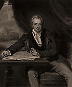 Jeffrey Wyatville, English architect born at Burton-on-Trent, Staffordshire.  Carried out renovations to Durham, Hereford, Lichfield and Salisbury cathedrals.  Among his commissions were alterations to Chatsworth House, Derbyshire (1818-1841), and the building of St George's Hall, Windsor Castle.  Engraving.