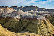Yellow Mounds Overlook. Erosion has exposed layers of ancient colorful sediments. Badlands National Park has the largest undisturbed mixed grass prairie in the United States. South Dakota, USA.