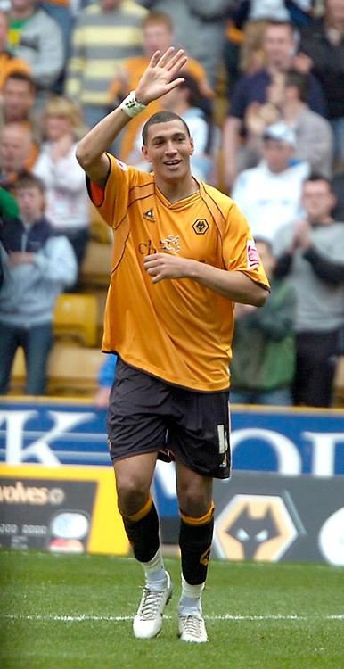 Photo: Ed Godden/Sportsbeat Images.<br />Wolverhampton Wanderers v Hull City. Coca Cola Championship. 09/04/2007. Wolves' player Jay Bothroyd celebrates after scoring the 3rd goal.