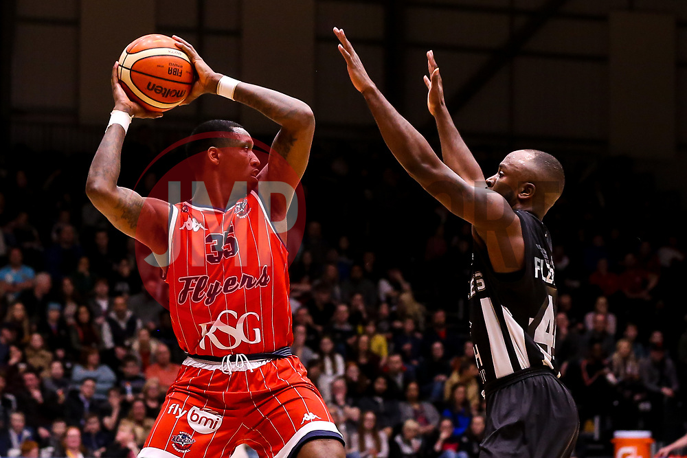 Fred Thomas of Bristol Flyers takes on Rahmon Fletcher of Newcastle Eagles - Photo mandatory by-line: Robbie Stephenson/JMP - 01/03/2019 - BASKETBALL - Eagles Community Arena - Newcastle upon Tyne, England - Newcastle Eagles v Bristol Flyers - British Basketball League Championship